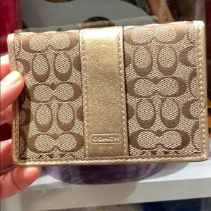 Coach Monogram and Leather Card Case Wallet